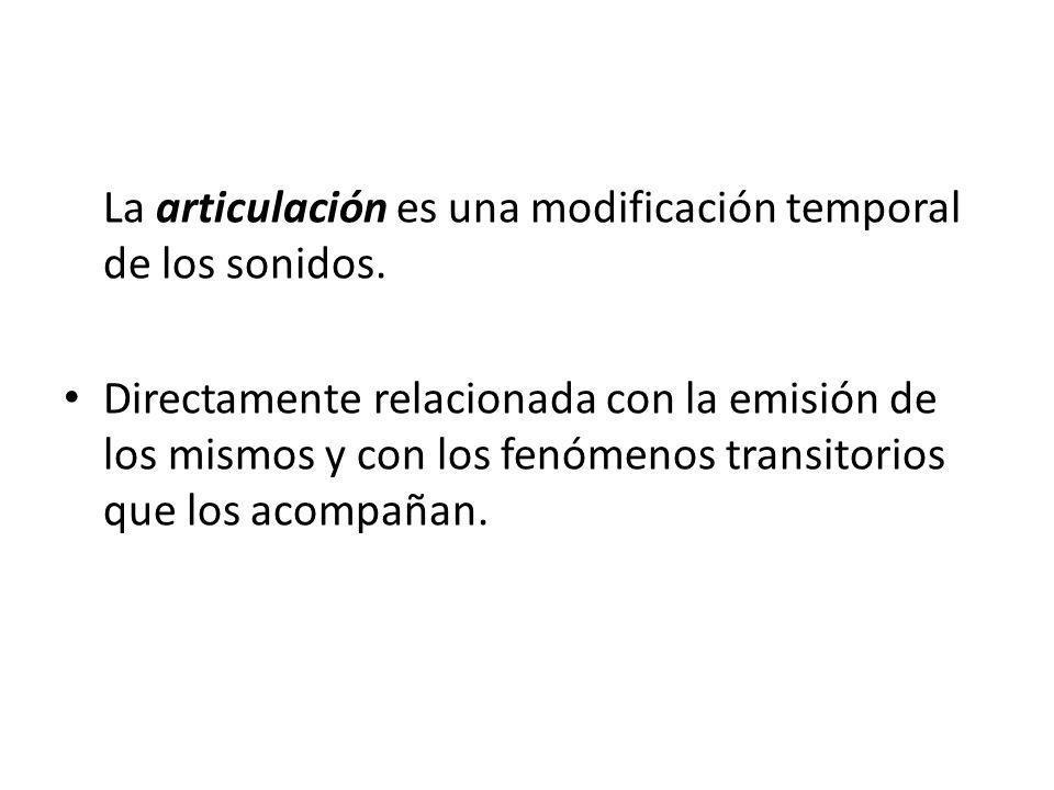 La articulación es una modificación temporal de los sonidos.