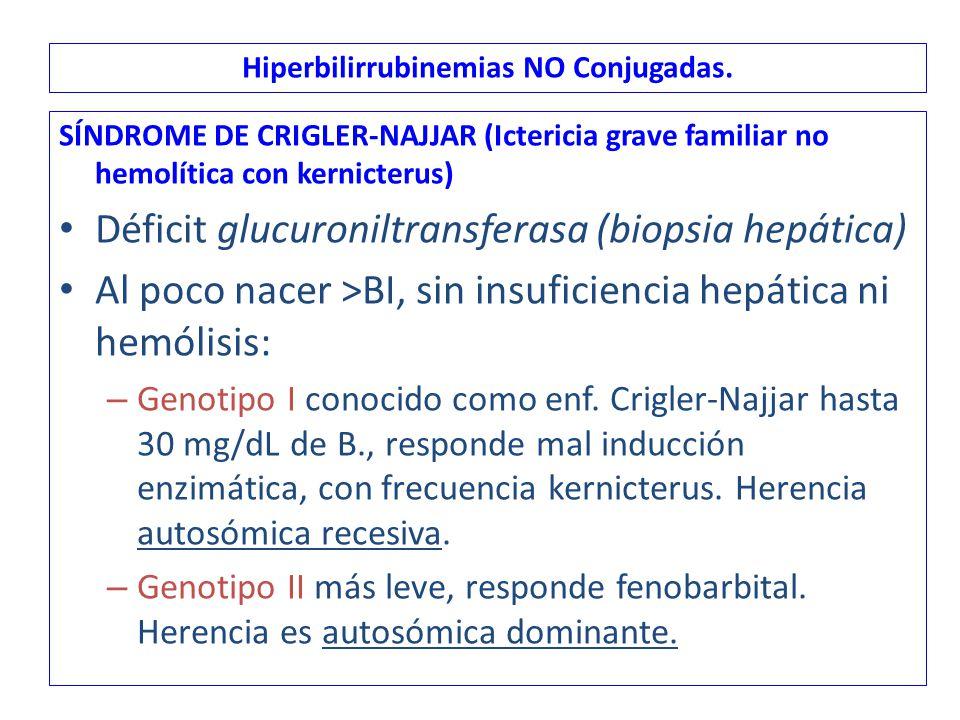 Hiperbilirrubinemias NO Conjugadas.