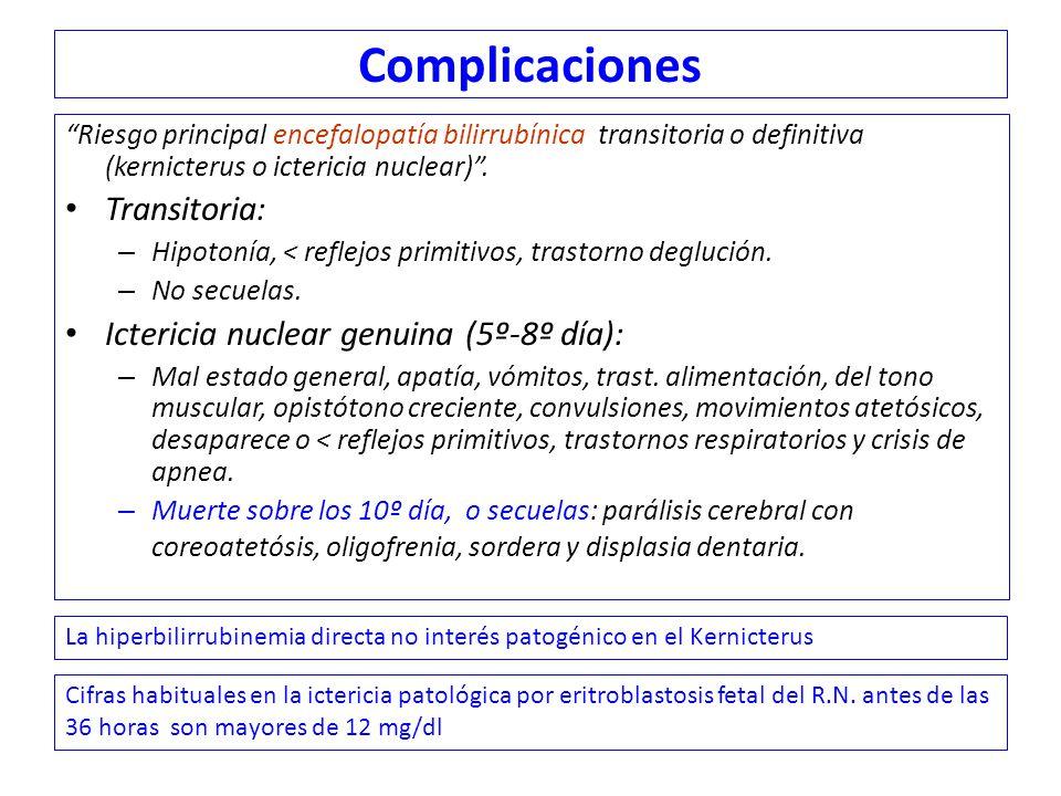 Complicaciones Transitoria: Ictericia nuclear genuina (5º-8º día):