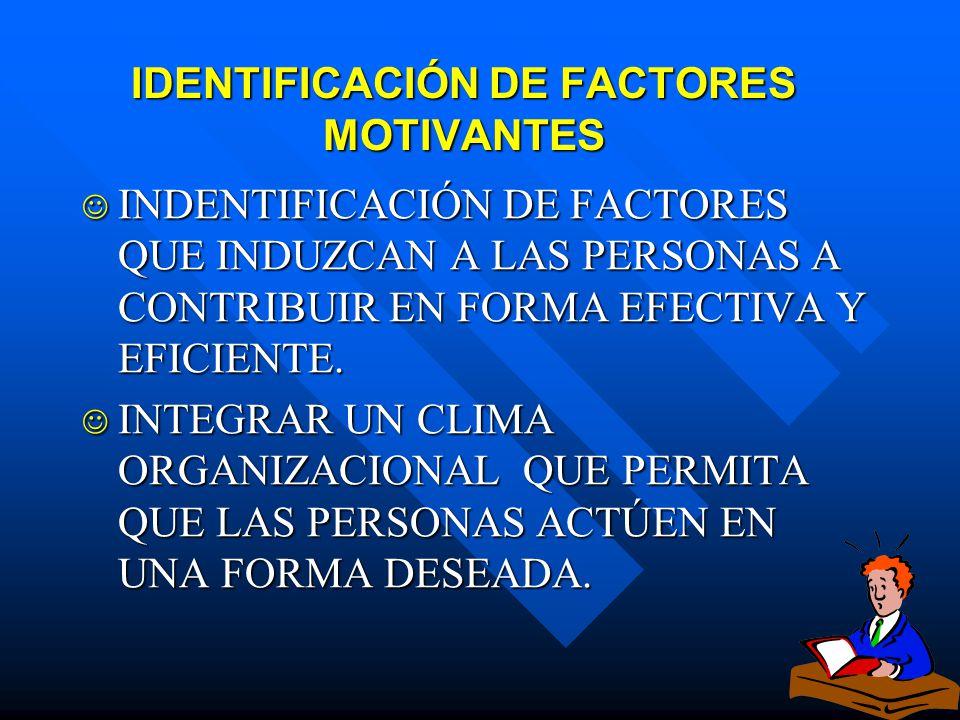 IDENTIFICACIÓN DE FACTORES MOTIVANTES
