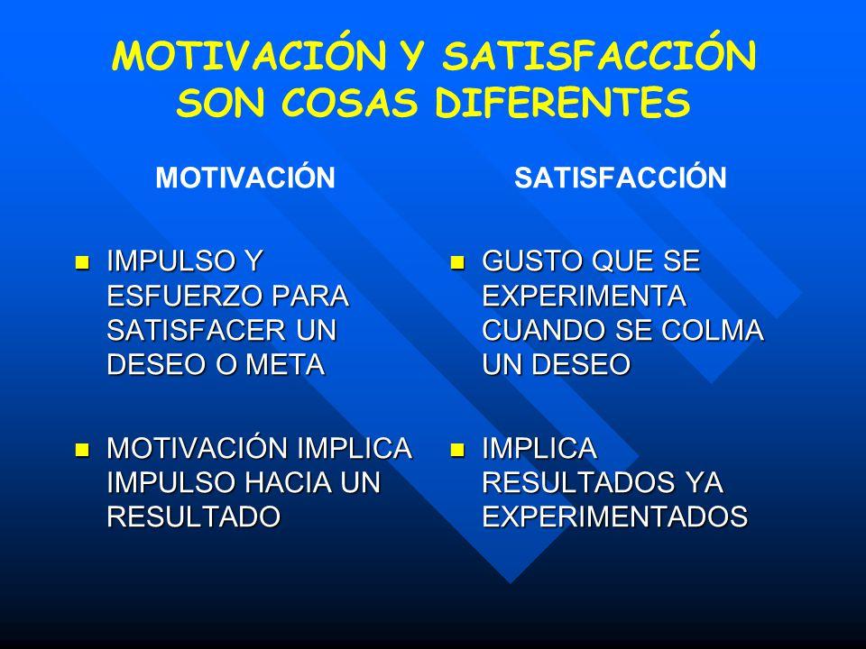 MOTIVACIÓN Y SATISFACCIÓN SON COSAS DIFERENTES