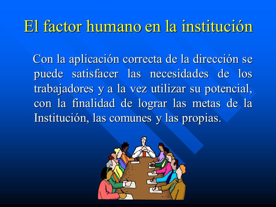 El factor humano en la institución