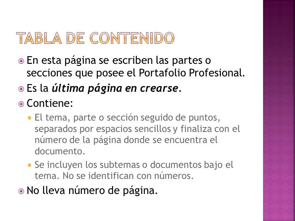 Tabla de contenido En esta página se escriben las partes o secciones que posee el Portafolio Profesional.