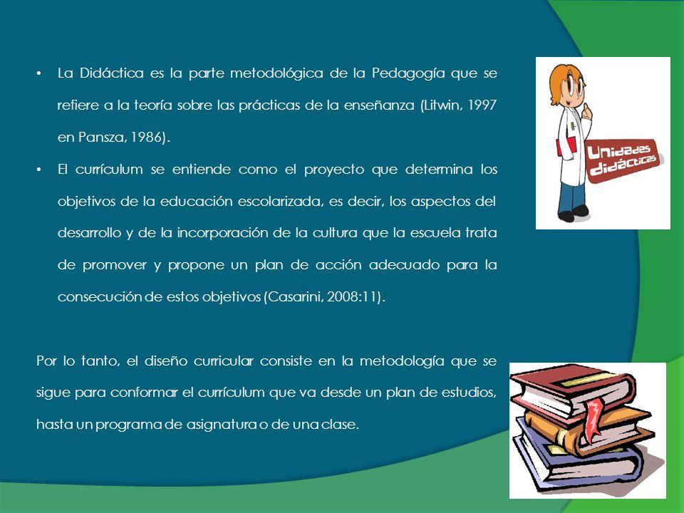 La Didáctica es la parte metodológica de la Pedagogía que se refiere a la teoría sobre las prácticas de la enseñanza (Litwin, 1997 en Pansza, 1986).