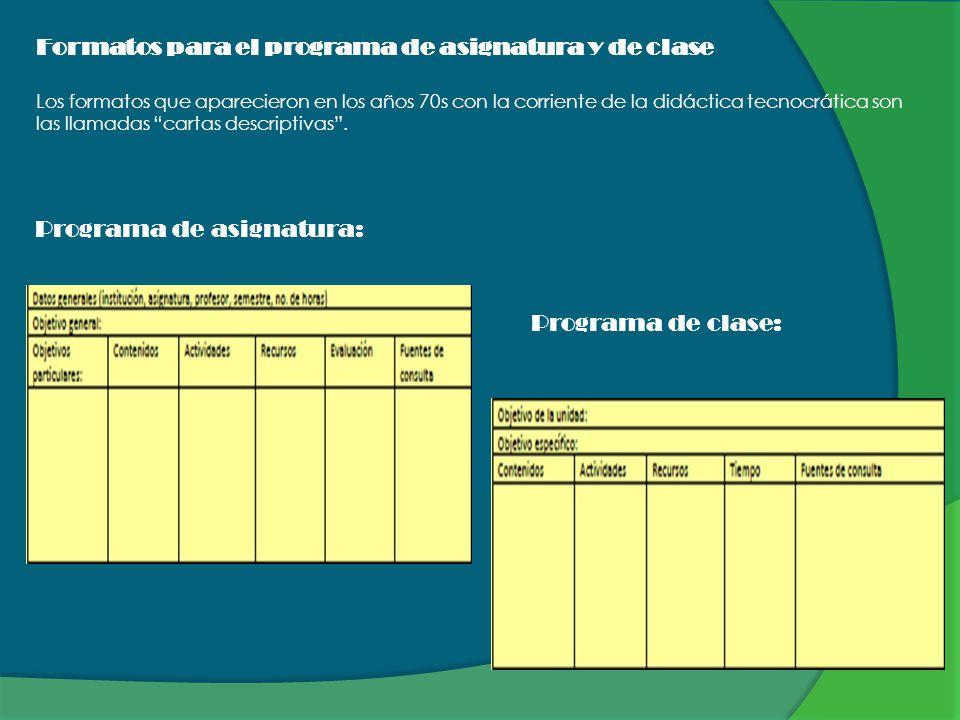 Formatos para el programa de asignatura y de clase