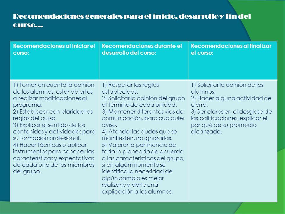 Recomendaciones generales para el inicio, desarrollo y fin del curso…