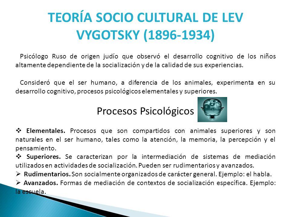 TEORÍA SOCIO CULTURAL DE LEV VYGOTSKY (1896-1934)