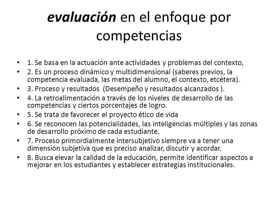 evaluación en el enfoque por competencias