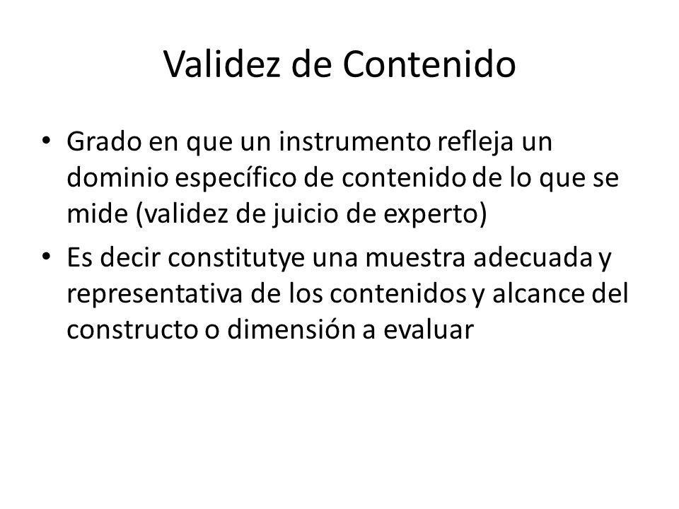 Validez de Contenido Grado en que un instrumento refleja un dominio específico de contenido de lo que se mide (validez de juicio de experto)