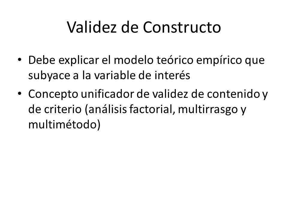 Validez de Constructo Debe explicar el modelo teórico empírico que subyace a la variable de interés.