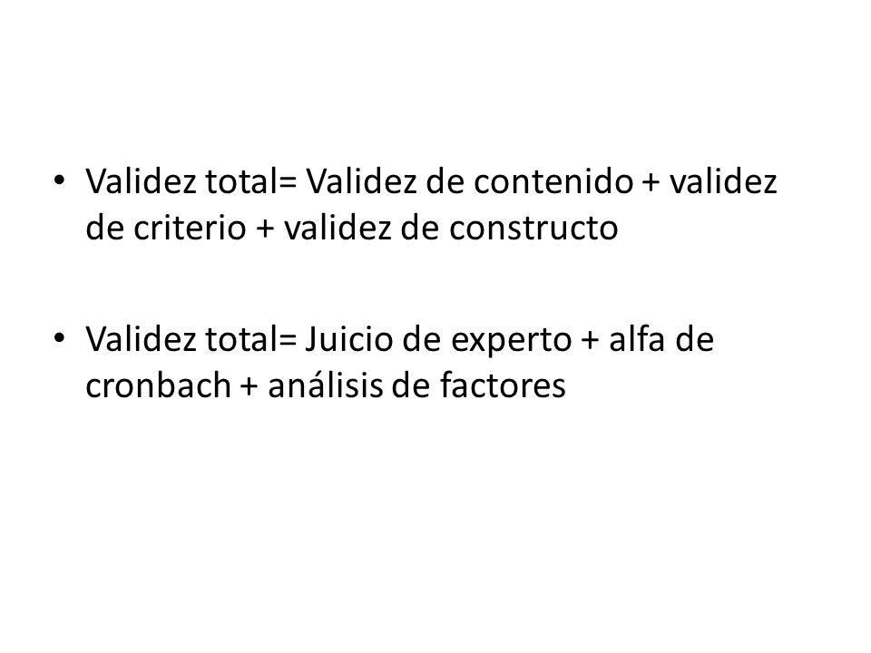 Validez total= Validez de contenido + validez de criterio + validez de constructo