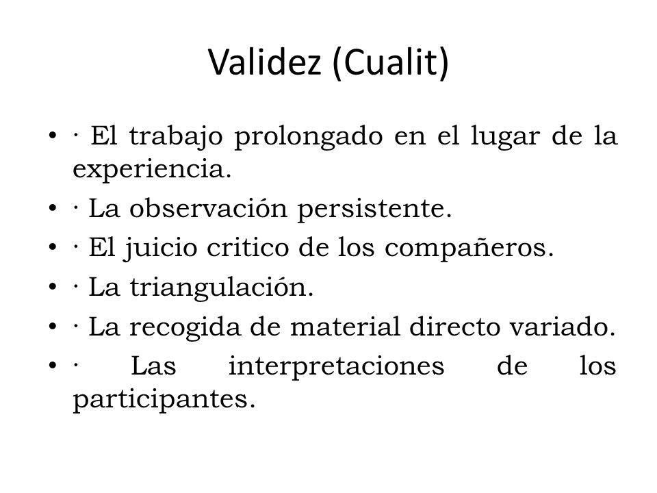 Validez (Cualit) · El trabajo prolongado en el lugar de la experiencia. · La observación persistente.