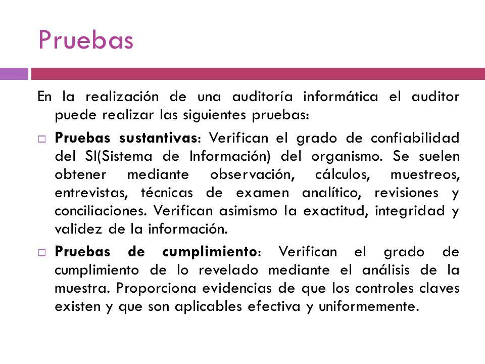 Pruebas En la realización de una auditoría informática el auditor puede realizar las siguientes pruebas: