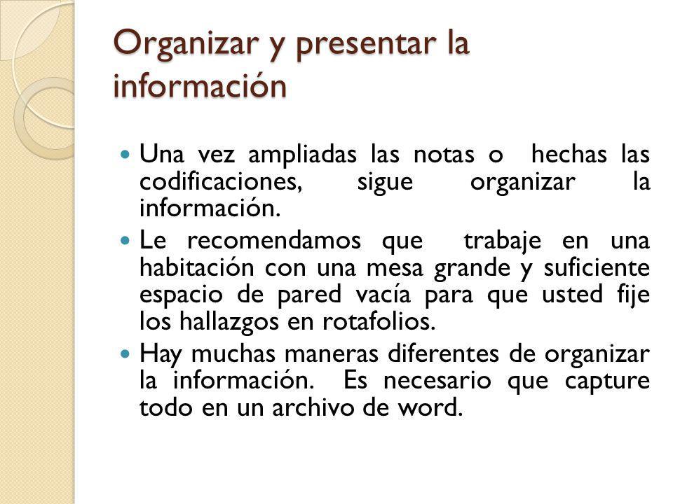Organizar y presentar la información