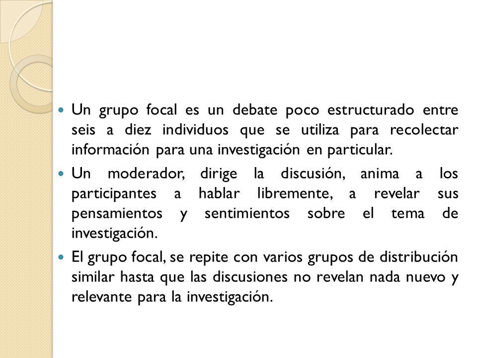 Un grupo focal es un debate poco estructurado entre seis a diez individuos que se utiliza para recolectar información para una investigación en particular.