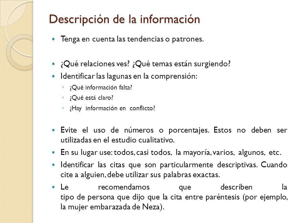 Descripción de la información