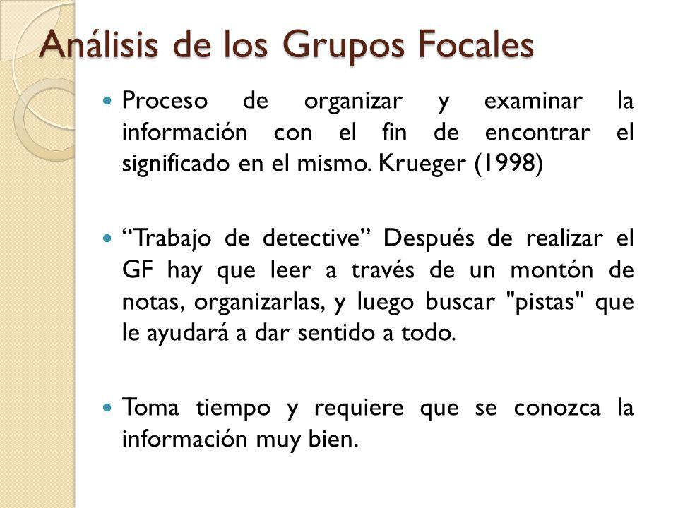Análisis de los Grupos Focales