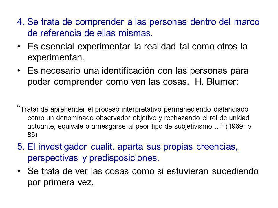 4. Se trata de comprender a las personas dentro del marco de referencia de ellas mismas.
