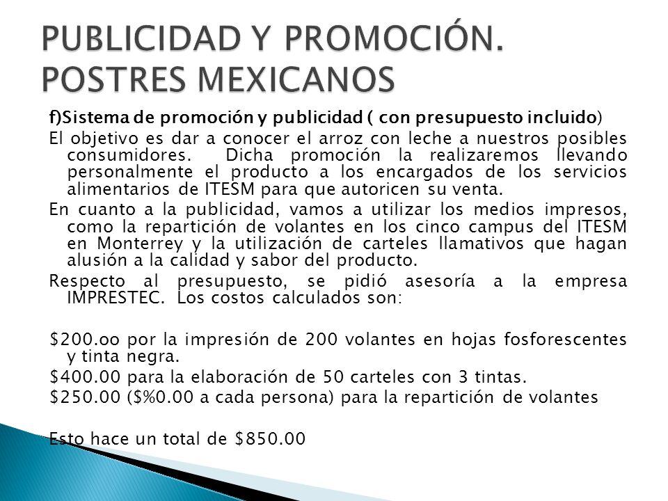 PUBLICIDAD Y PROMOCIÓN. POSTRES MEXICANOS