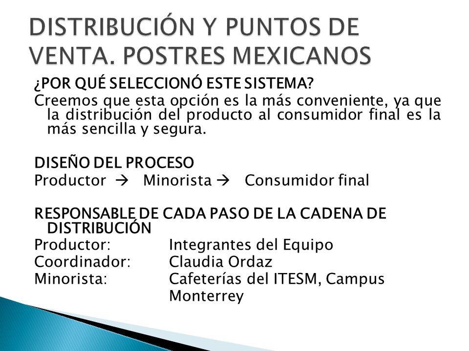 DISTRIBUCIÓN Y PUNTOS DE VENTA. POSTRES MEXICANOS