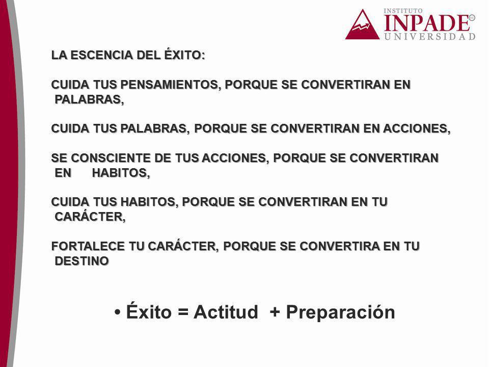 • Éxito = Actitud + Preparación