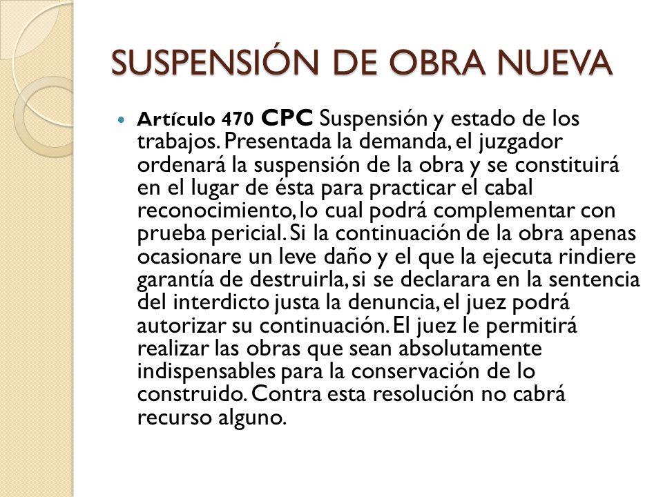 SUSPENSIÓN DE OBRA NUEVA