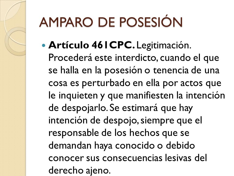 AMPARO DE POSESIÓN