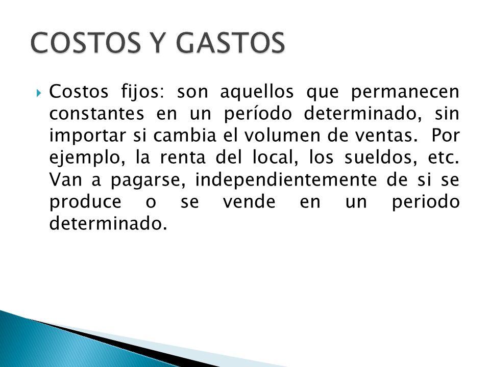 COSTOS Y GASTOS