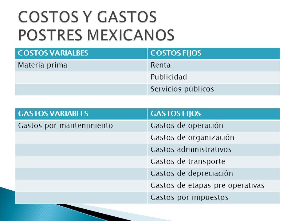 COSTOS Y GASTOS POSTRES MEXICANOS