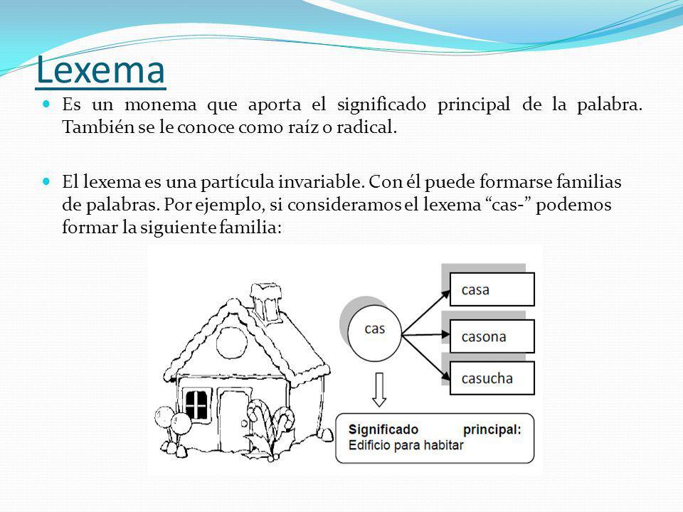 Lexema Es un monema que aporta el significado principal de la palabra. También se le conoce como raíz o radical.