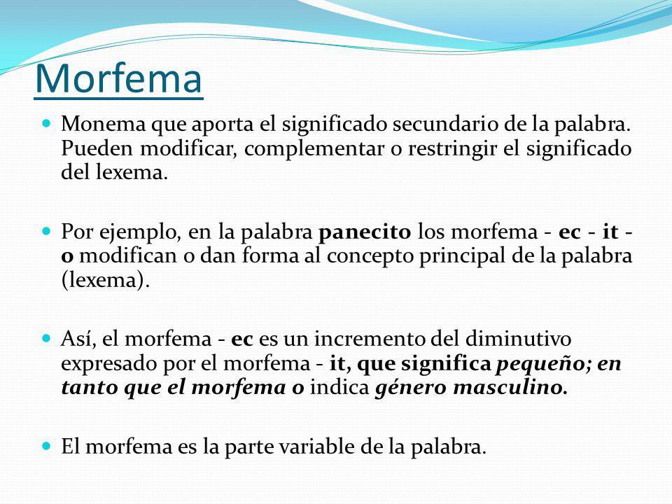 Morfema Monema que aporta el significado secundario de la palabra. Pueden modificar, complementar o restringir el significado del lexema.