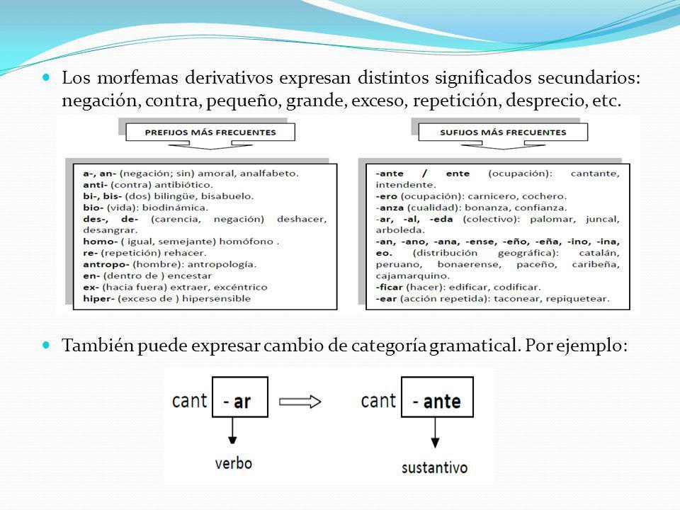 Los morfemas derivativos expresan distintos significados secundarios: negación, contra, pequeño, grande, exceso, repetición, desprecio, etc.