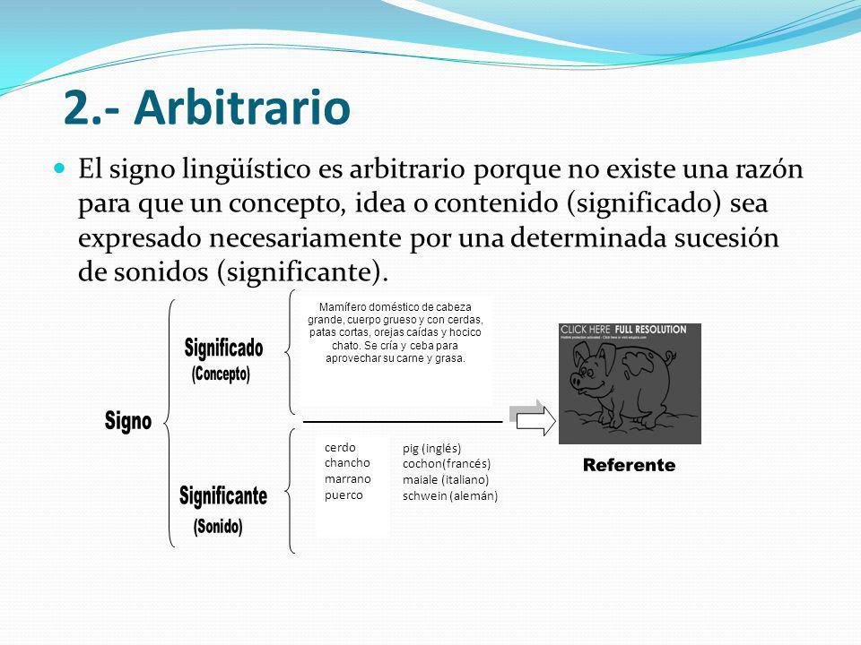 2.- Arbitrario Significado Signo Referente Significante