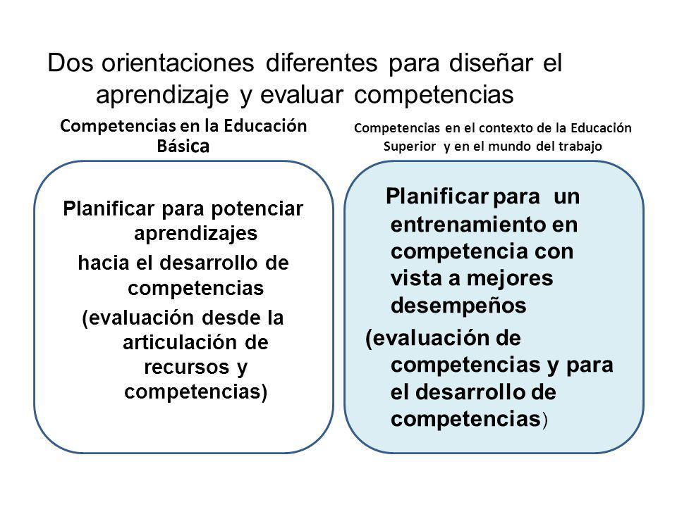 Dos orientaciones diferentes para diseñar el aprendizaje y evaluar competencias