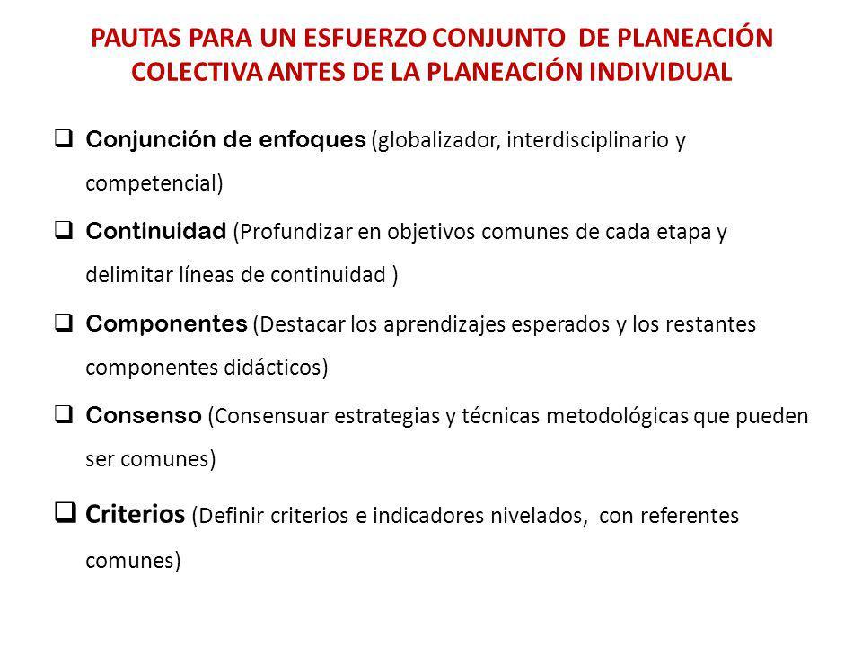 PAUTAS PARA UN ESFUERZO CONJUNTO DE PLANEACIÓN COLECTIVA ANTES DE LA PLANEACIÓN INDIVIDUAL