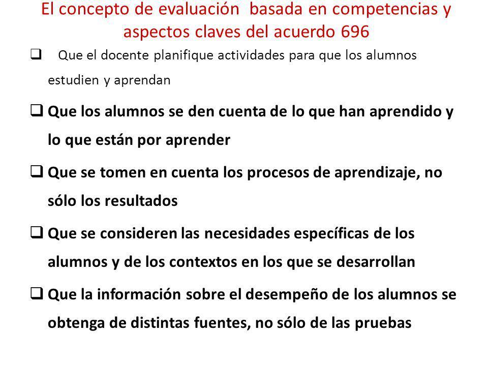 El concepto de evaluación basada en competencias y aspectos claves del acuerdo 696
