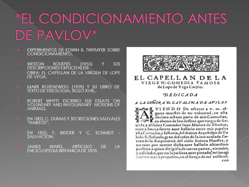 *EL CONDICIONAMIENTO ANTES DE PAVLOV*