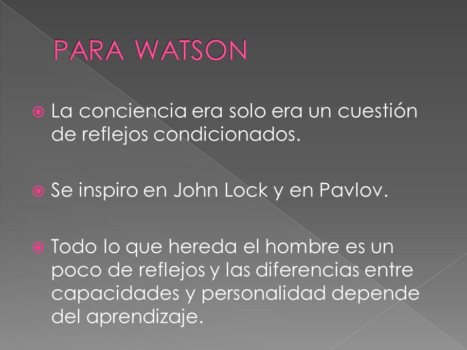 PARA WATSON La conciencia era solo era un cuestión de reflejos condicionados. Se inspiro en John Lock y en Pavlov.