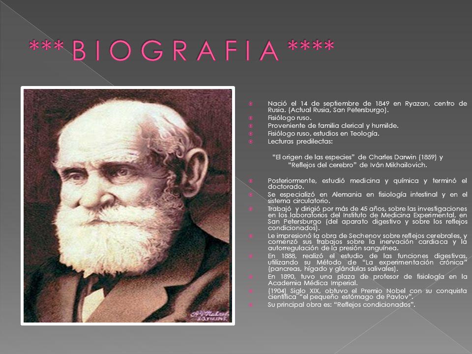 *** B I O G R A F I A **** Nació el 14 de septiembre de 1849 en Ryazan, centro de Rusia. (Actual Rusia, San Petersburgo).