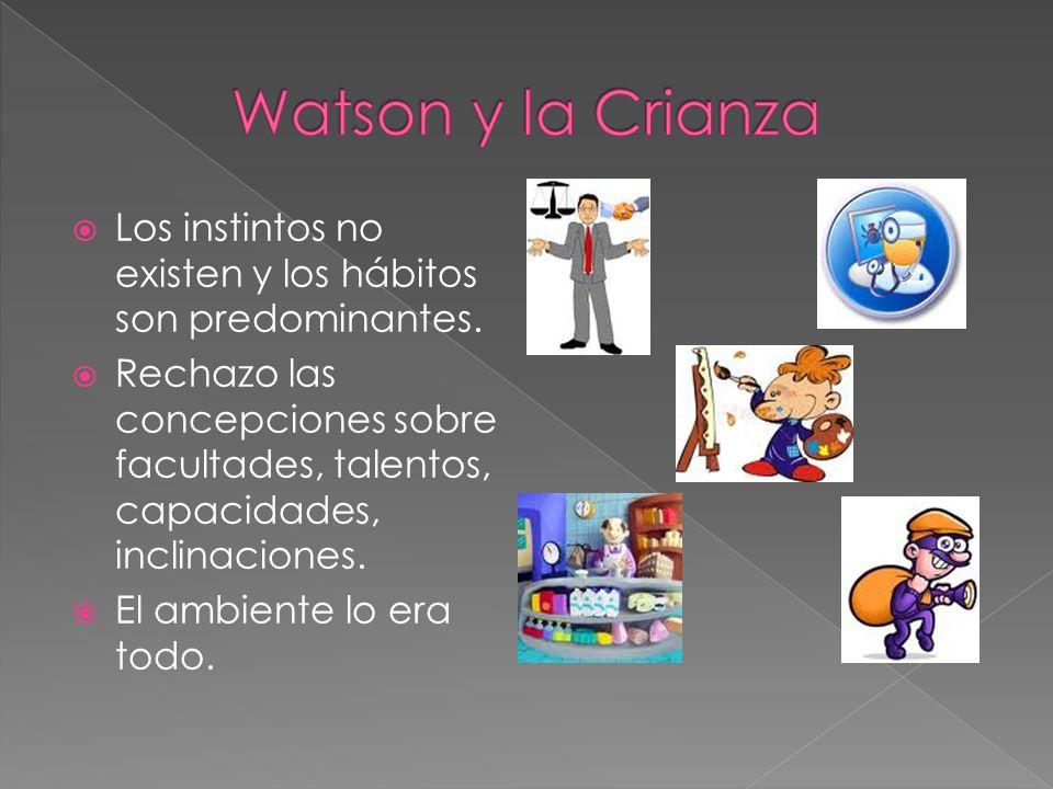 Watson y la Crianza Los instintos no existen y los hábitos son predominantes.