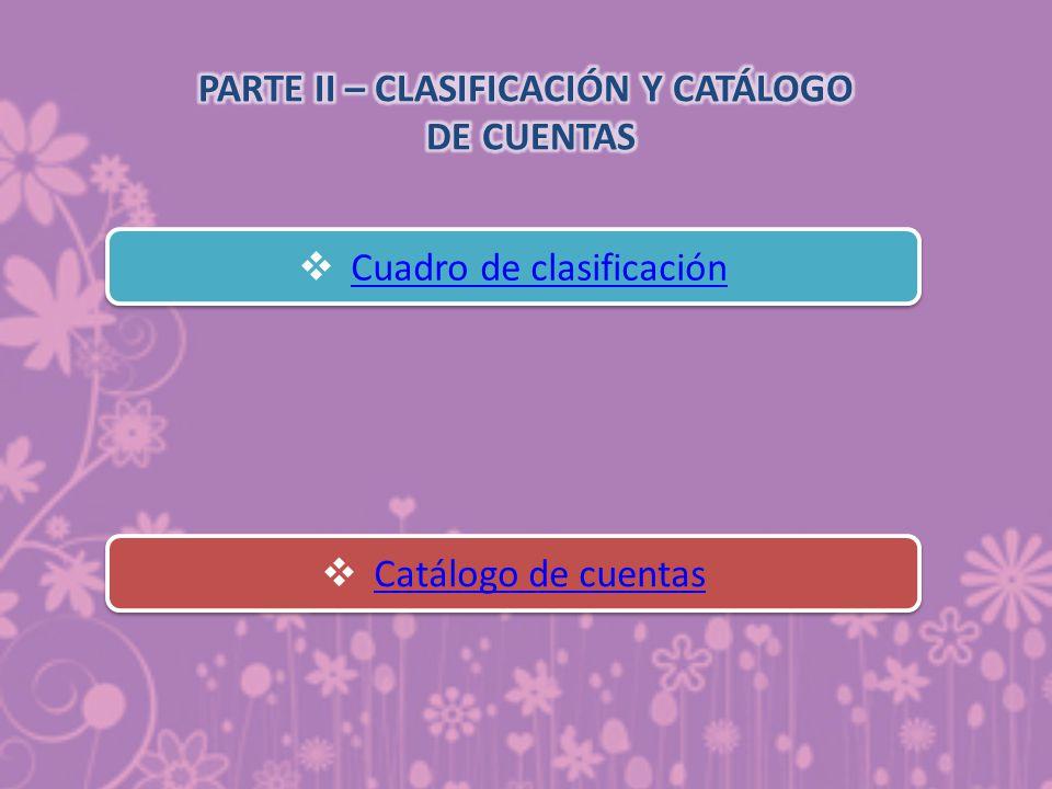 PARTE II – CLASIFICACIÓN Y CATÁLOGO DE CUENTAS
