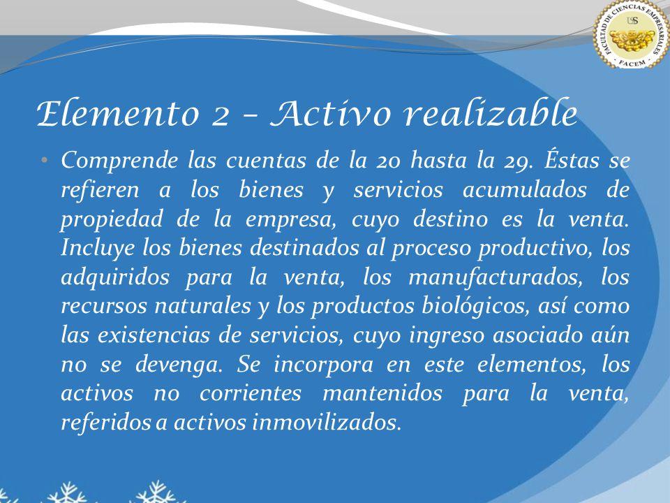 Elemento 2 – Activo realizable