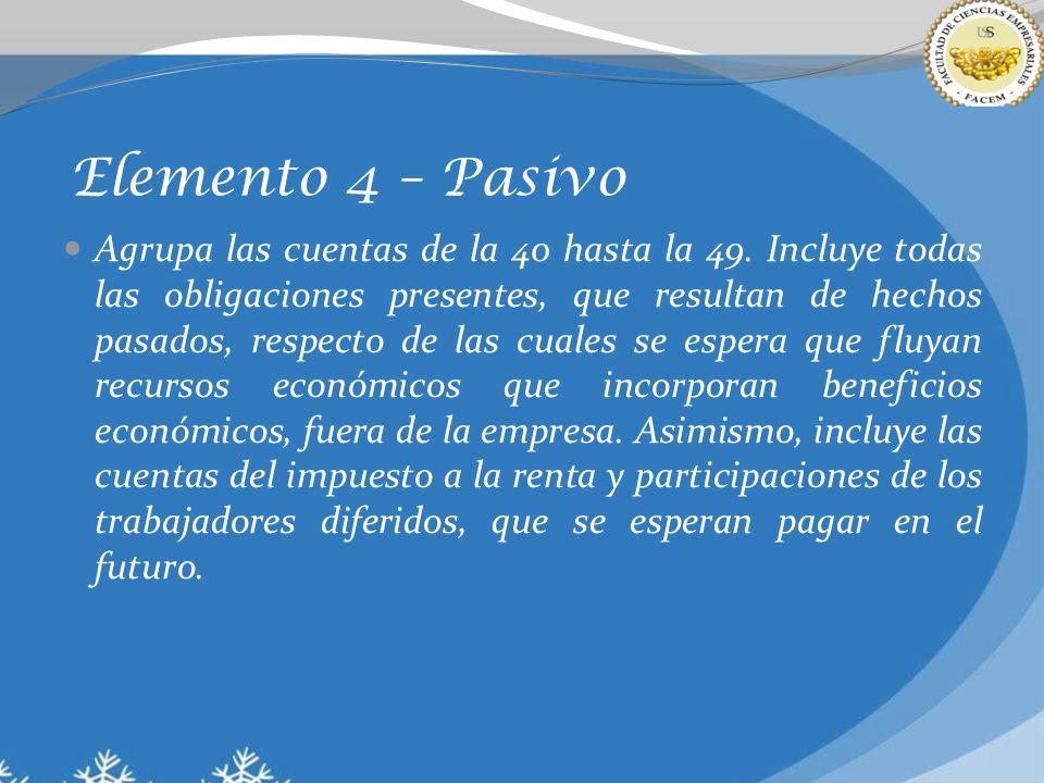 Elemento 4 – Pasivo