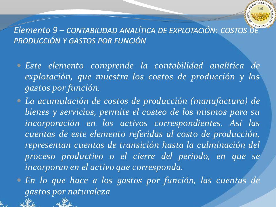 Elemento 9 – CONTABILIDAD ANALÍTICA DE EXPLOTACIÓN: COSTOS DE PRODUCCIÓN Y GASTOS POR FUNCIÓN