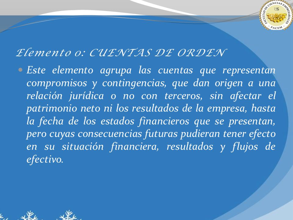 Elemento 0: CUENTAS DE ORDEN