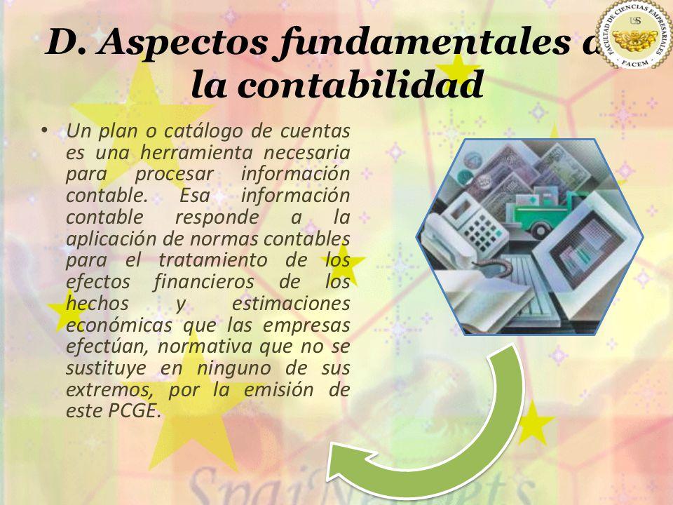 D. Aspectos fundamentales de la contabilidad