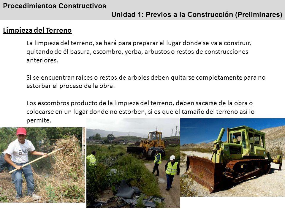 Limpieza del Terreno Procedimientos Constructivos