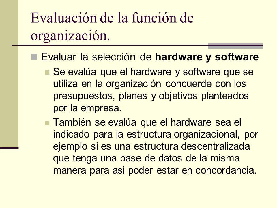 Evaluación de la función de organización.