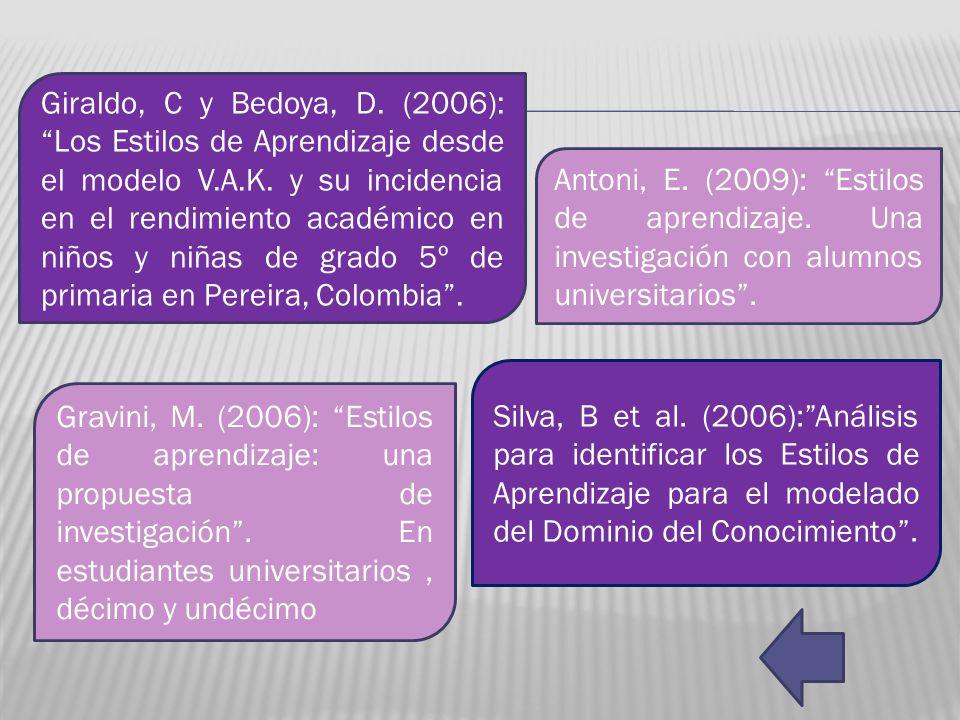 Giraldo, C y Bedoya, D. (2006): Los Estilos de Aprendizaje desde el modelo V.A.K. y su incidencia en el rendimiento académico en niños y niñas de grado 5º de primaria en Pereira, Colombia .