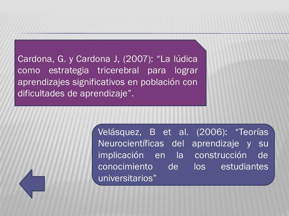 Cardona, G. y Cardona J, (2007): La lúdica como estrategia tricerebral para lograr aprendizajes significativos en población con dificultades de aprendizaje .